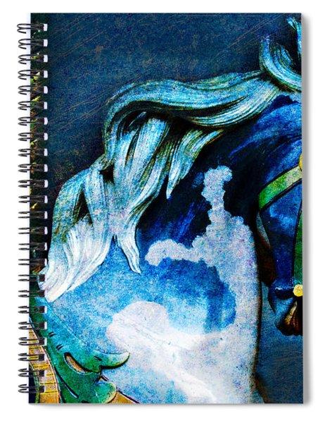Blue Carousel Horse Spiral Notebook