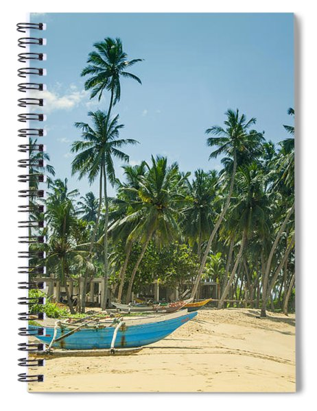 Blue Catamaran At A Beach With Coconut Palm Trees Spiral Notebook