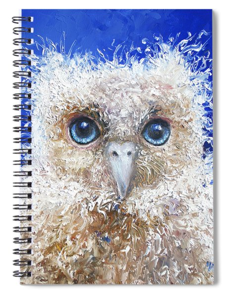 Blue Eyed Owl Painting Spiral Notebook