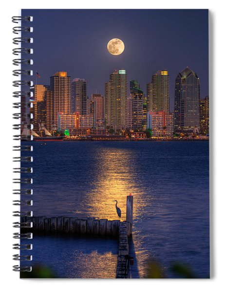 Blue Heron Moon Spiral Notebook