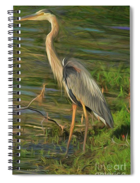 Blue Heron On The Bank Spiral Notebook