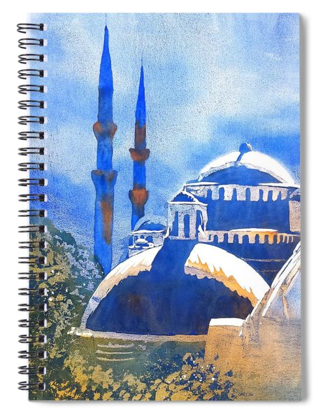 Blue Mosque In Blues Spiral Notebook