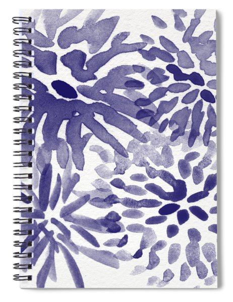 Blue Mums- Watercolor Floral Art Spiral Notebook