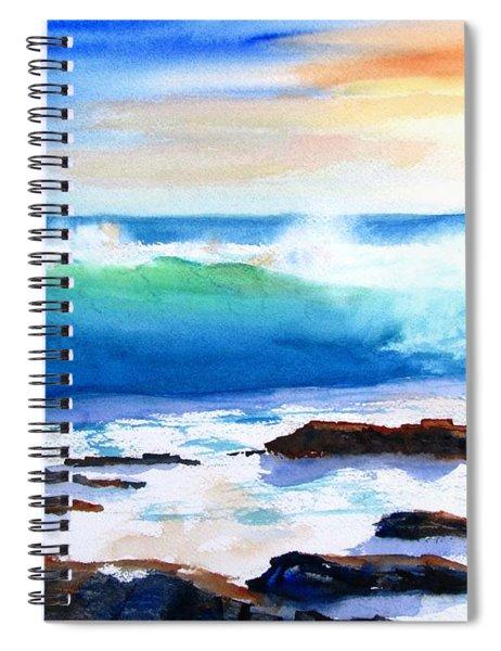 Blue Water Wave Crashing On Rocks Spiral Notebook