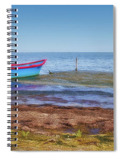 Boat At The Pond Spiral Notebook