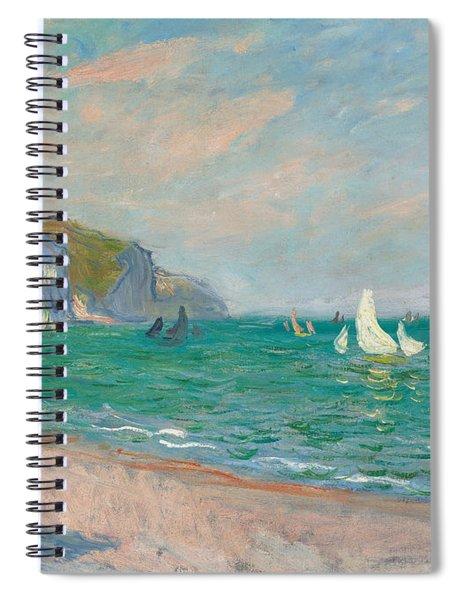 Boats Below The Pourville Cliffs Spiral Notebook