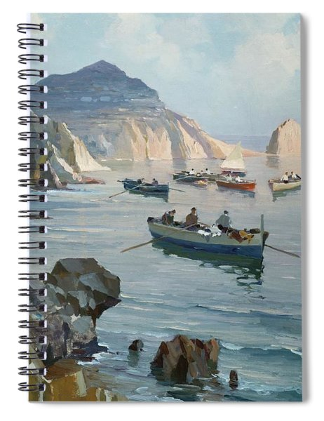 Boats In A Rocky Cove  Spiral Notebook