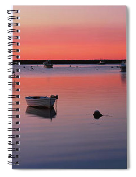 Boats In An Ocean At Sunset Spiral Notebook