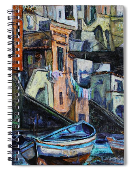 Boats In Front Of The Buildings I  Spiral Notebook