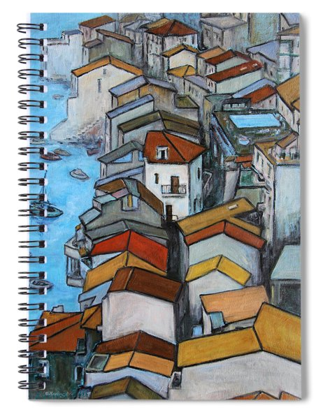 Boats In Front Of The Buildings Iv Spiral Notebook