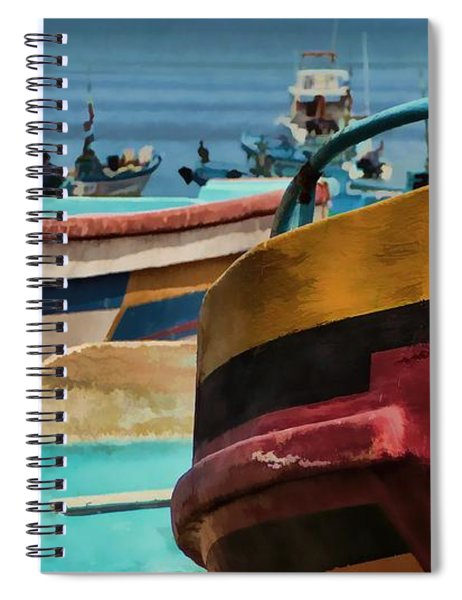Boats On The Beach - Puerto Lopez - Ecuador Spiral Notebook