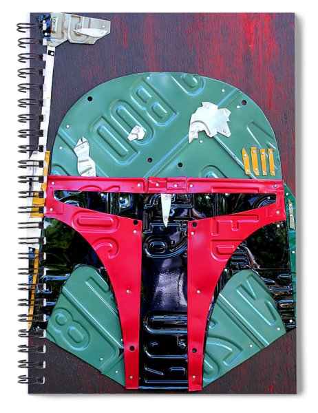 Boba Fett Star Wars Bounty Hunter Helmet Recycled License Plate Art Spiral Notebook