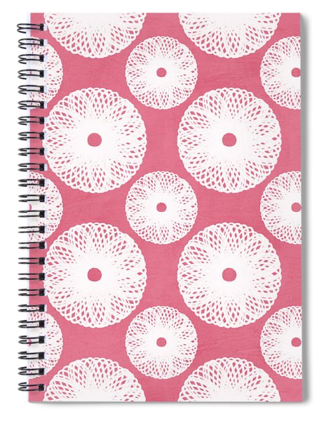 Boho Floral Pattern In Pink And White Spiral Notebook