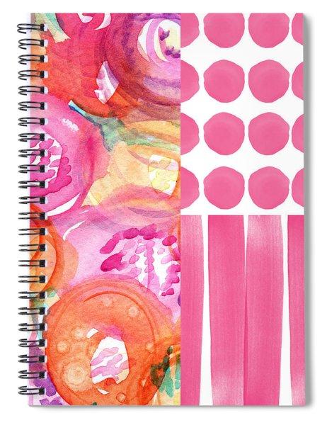 Boho Flower Patchwork- Watercolor Art Spiral Notebook