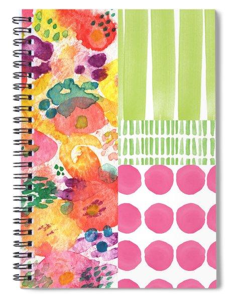 Boho Garden Patchwork- Floral Painting Spiral Notebook