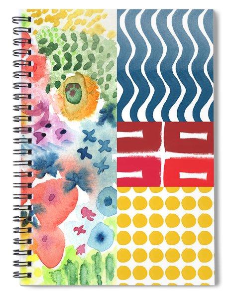 Bold Boho Patchwork- Abstract Art Spiral Notebook