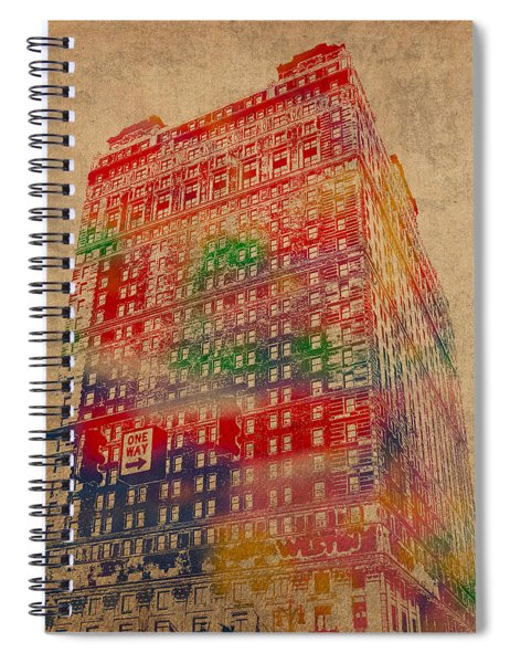 Book Cadillac Iconic Buildings Of Detroit Watercolor On Worn Canvas Series Number 3 Spiral Notebook