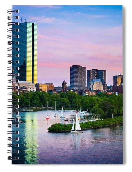 Spiral Notebook featuring the photograph Boston Skyline by Inge Johnsson