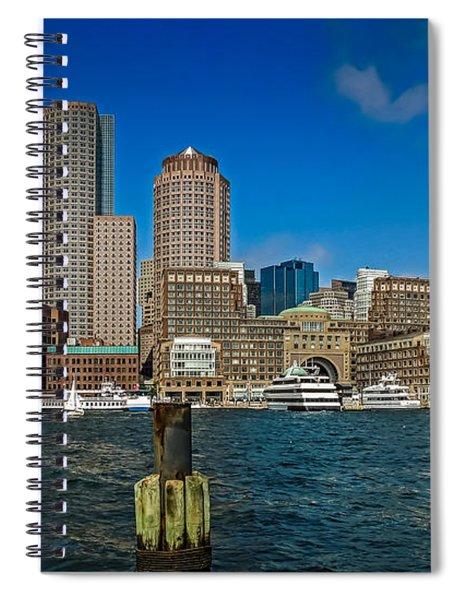 Boston Waterfront Skyline Spiral Notebook