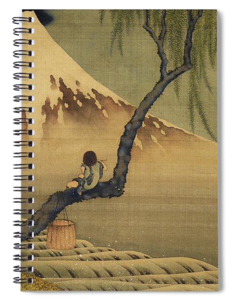 Boy Viewing Mount Fuji Spiral Notebook