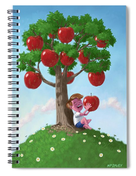 Boy With Apple Tree Spiral Notebook