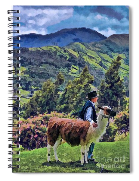 Boy With Llama  Spiral Notebook