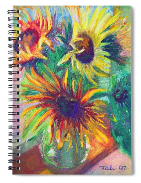 Brandy's Sunflowers - Still Life On Windowsill Spiral Notebook