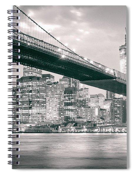 Brooklyn Bridge And New York City Skyline At Night Spiral Notebook