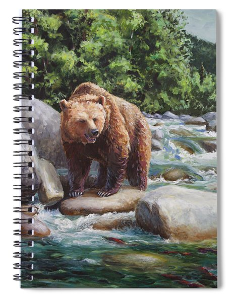 Brown Bear And Salmon On The River - Alaskan Wildlife Landscape Spiral Notebook