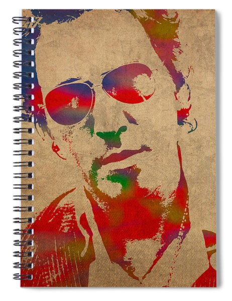 Bruce Springsteen Watercolor Portrait On Worn Distressed Canvas Spiral Notebook