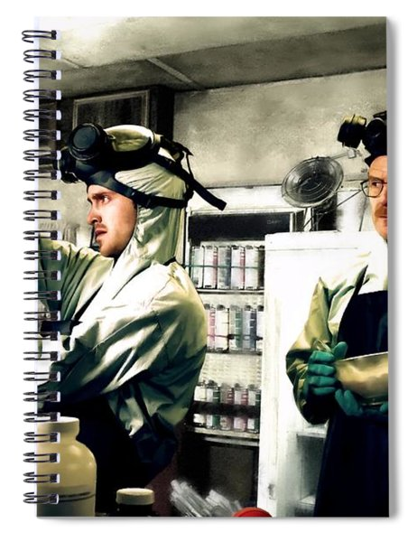 Bryan Cranston As Walter White And Aaron Paul As Jesse Pinkman Cooking Metha @ Tv Serie Breaking Bad Spiral Notebook