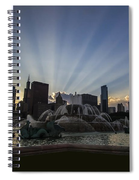 Buckingham Fountain With Rays Of Sunlight Spiral Notebook