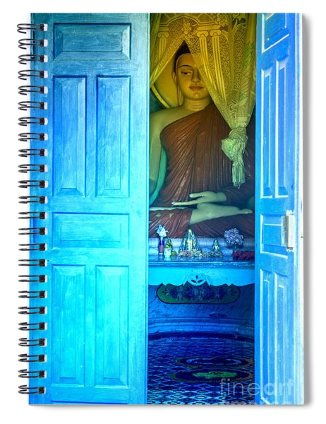 Buddha Behind A Blue Door Spiral Notebook