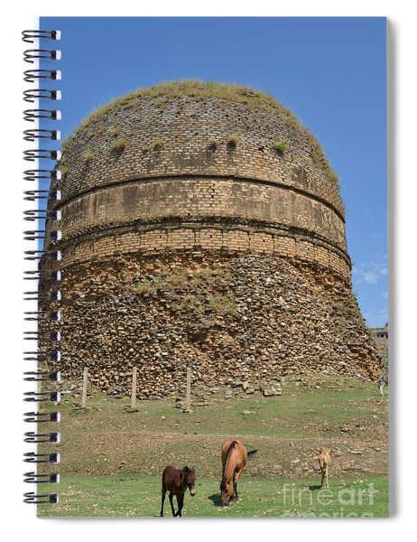 Buddhist Religious Stupa Horse And Mules Swat Valley Pakistan Spiral Notebook