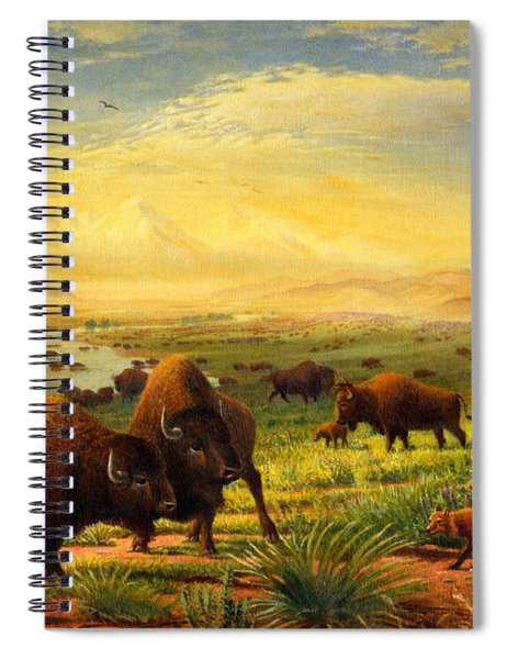 Buffalo Fox Great Plains Western Landscape Oil Painting - Bison - Americana - Historic - Walt Curlee Spiral Notebook