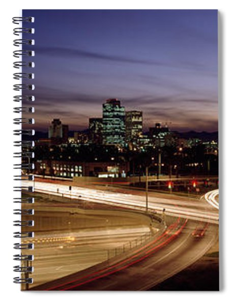 Buildings In A City Lit Up At Dusk, 7th Spiral Notebook