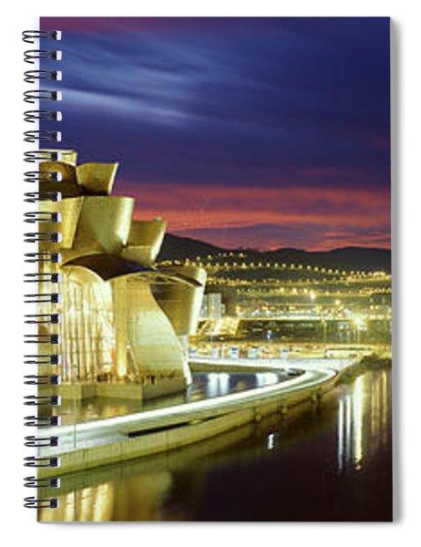 Buildings Lit Up At Dusk, Guggenheim Spiral Notebook
