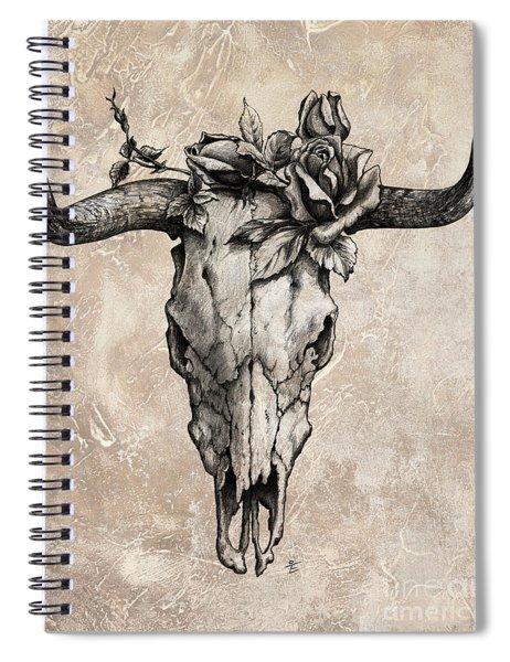 Bull Skull And Rose Spiral Notebook