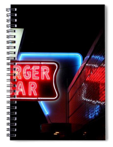 Burger Bar Neon Diner Sign At Night Spiral Notebook