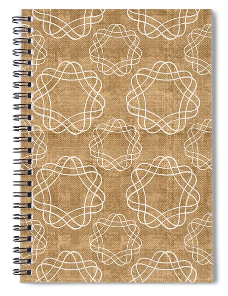 Burlap And White Geometric Flowers Spiral Notebook