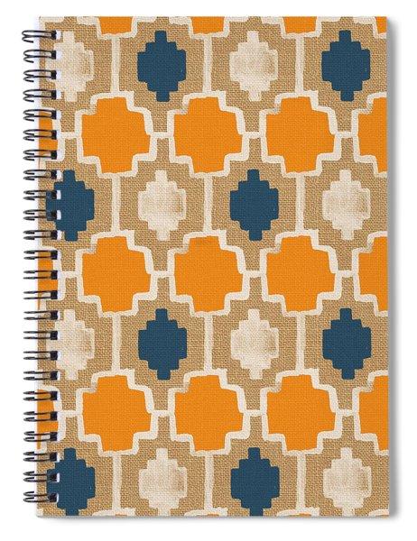Burlap Blue And Orange Design Spiral Notebook