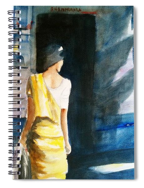 Bus Stop - Woman Boarding The Bus Spiral Notebook
