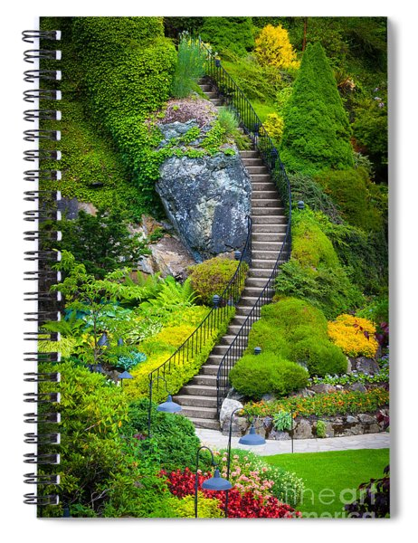 Spiral Notebook featuring the photograph Butchart Gardens Stairs by Inge Johnsson