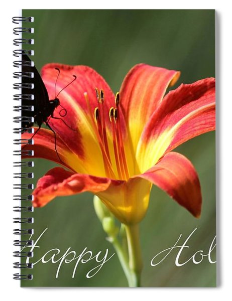 Butterfly And Lily Holiday Card Spiral Notebook