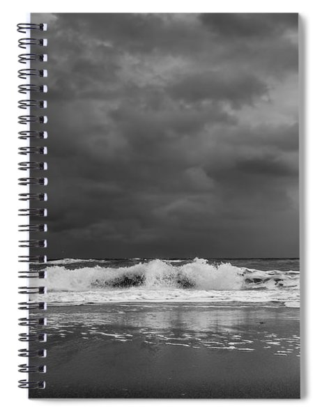 Bw Stormy Seascape Spiral Notebook