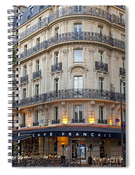 Spiral Notebook featuring the photograph Cafe Francais by Brian Jannsen
