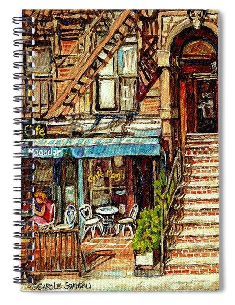 Cafe Mogador Moroccan Mediterranean Cuisine New York Paintings East Village Storefronts Street Scene Spiral Notebook