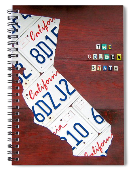 California License Plate Map Spiral Notebook