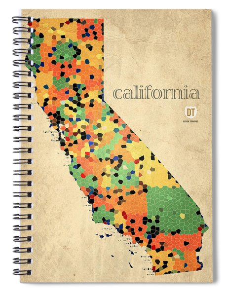 California Map Crystalized Counties On Worn Canvas By Design Turnpike Spiral Notebook