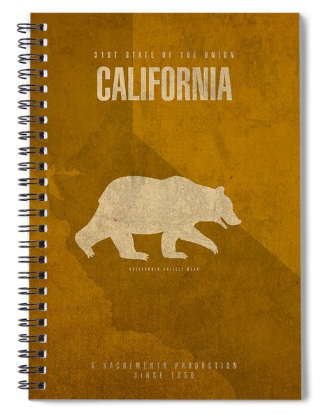 California State Facts Minimalist Movie Poster Art  Spiral Notebook